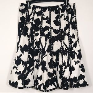 CAbi Black & White Floral A-Line Circle Skirt